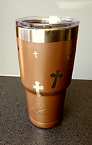 Powder Coated Drink Tumbler:  Theme: Christian Crosses